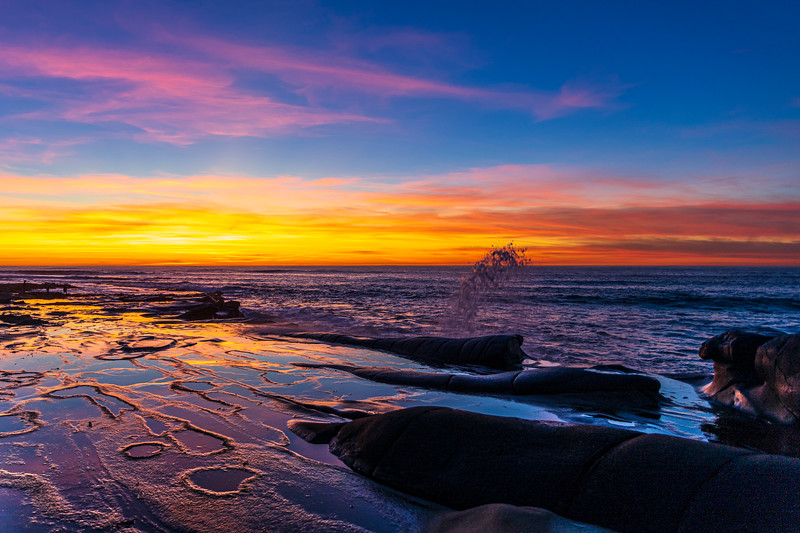 Spectacular San Diego Sunset At The La Jolla Tide Pools.