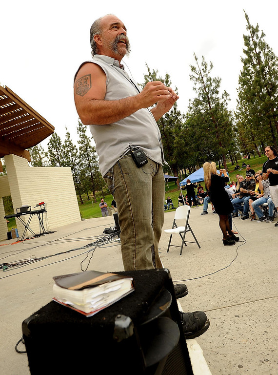 ". �Violence does not glorify God,"" said Sam Childers to a crowd during the Lifepoint Church\'s Picnic at Red Hill Community Park in Rancho Cucamonga May 5, 2013. \""The God that we serve is not a God of violence.\""  GABRIEL LUIS ACOSTA/STAFF PHOTOGRAPHER."