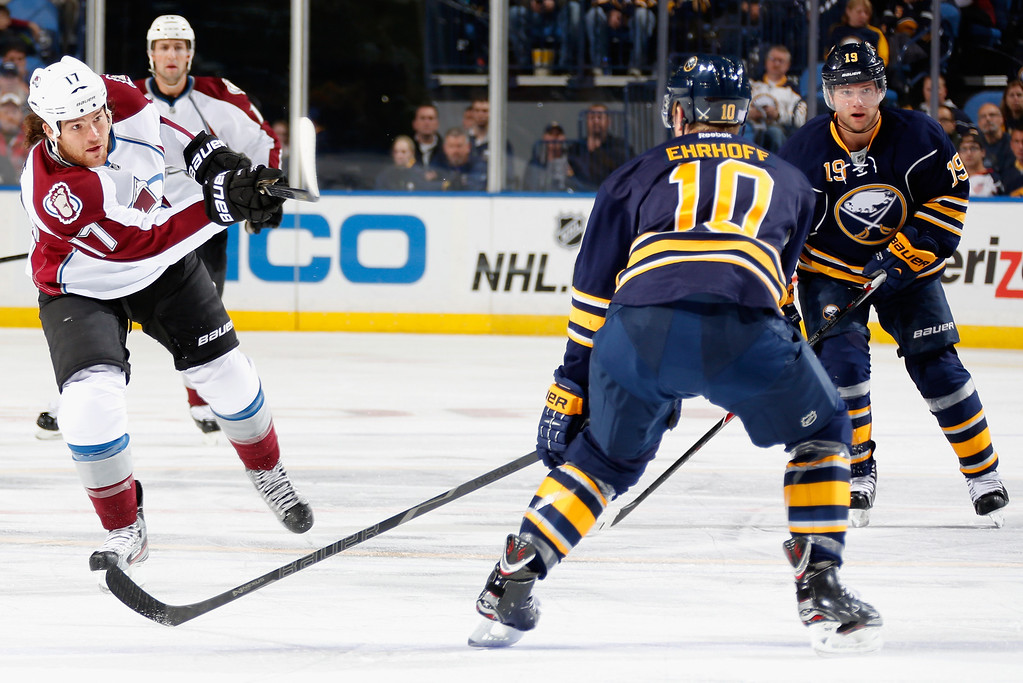 . BUFFALO, NY - OCTOBER 19:  Cory Sarich #16 of the Colorado Avalanche shoots the puck past Christian Ehrhoff #10 of the Buffalo Sabres at First Niagara Center on October 19, 2013 in Buffalo, New York.  (Photo by Jen Fuller/Getty Images)