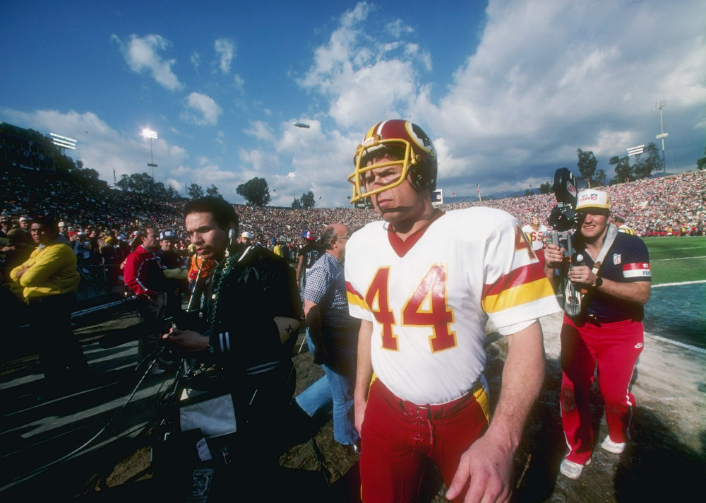Description of . 30 Jan 1983:  Running back John Riggins #44 of the Washington Redskins looks on during the Super Bowl XVII against the Miami Dolphins at the Rose Bowl in Pasadena, California.  The Redskins won the game, 27-17. Mandatory Credit: Allsport