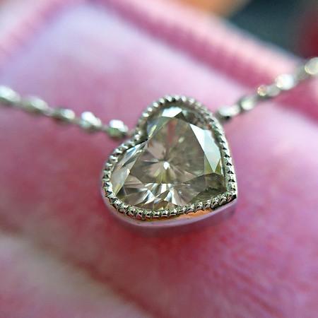 ".49ct Heart Diamond ""Askew"" Pendant, White Gold"