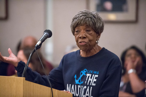 10/07/19 Wesley Bunnell | StaffrrCandidates for public office met at the Board of Education on Monday night for an open forum for residents to ask questions. Resident Olga Callender asked a question of the panel.