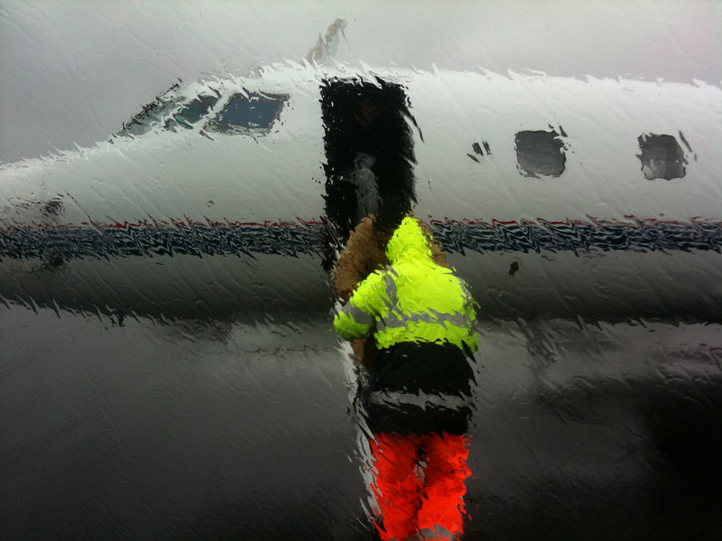 A very wet arrival in Nantucket-unloading the plane.