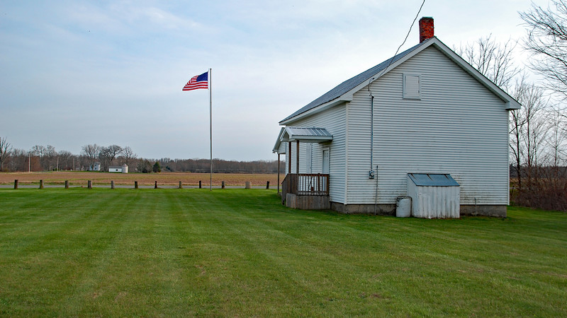 Looking south past Clarendon Township Hall