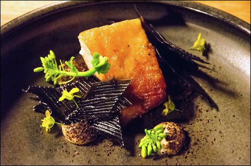 Caramelised pork jowl, lovage root and mandarin braised Tasmanian konbu