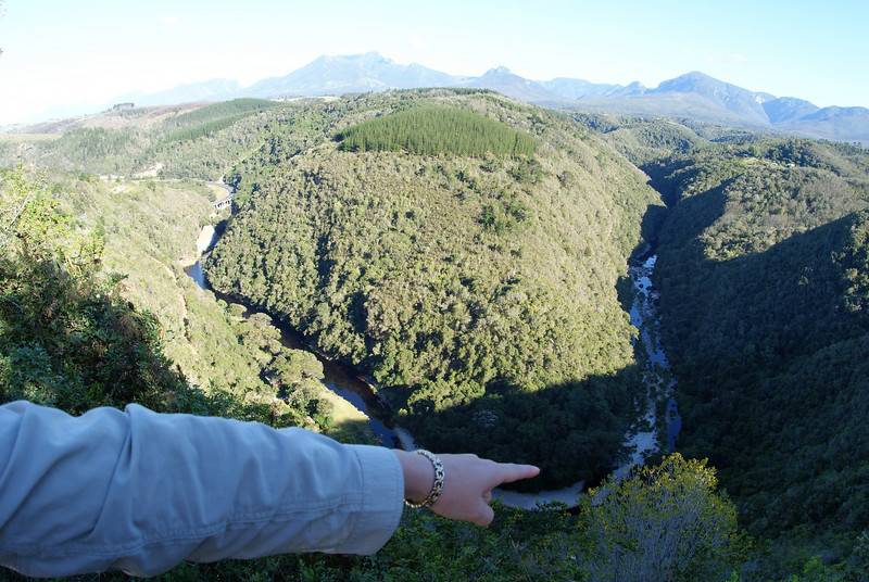 This piece of land outlined by river looks like Africa - the finger points to where we are in Wilderness, SA.