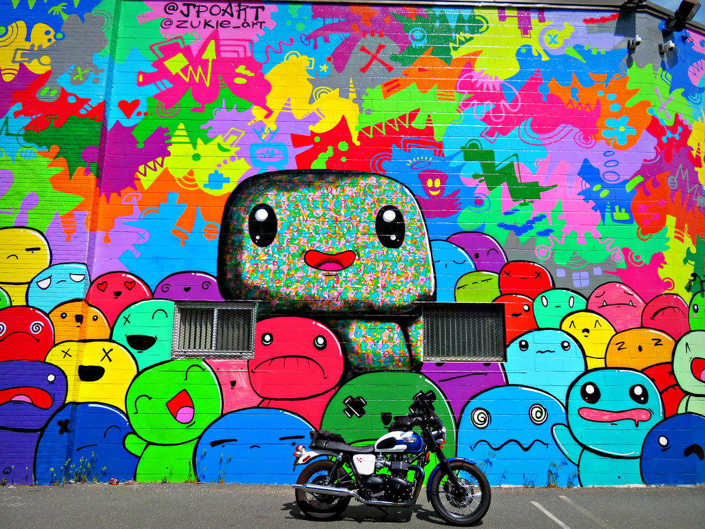 mural with triumph bonneville at fuzzygalore