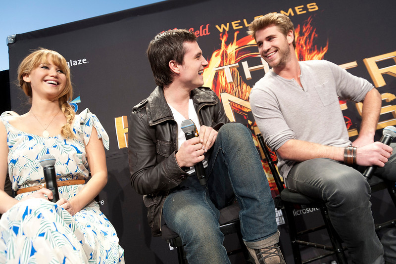 LOS ANGELES, CA - MARCH 03: Actors Jennifer Lawrence, Josh Hutcherson and Liam Hemsworth attend The Hunger Games U.S. Mall Tour Kick-Off at Westfield Century City on Saturday, March 3, 2012 in Los Angeles, California. Photo taken by Tom Sorensen/Moovieboy Pictures.