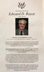 Edward D. Royce, Sr., 1925-2019