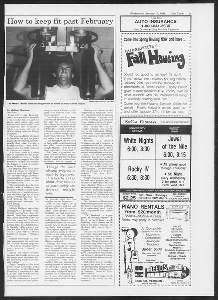 Daily Trojan, Vol. 100, No. 4, January 15, 1986