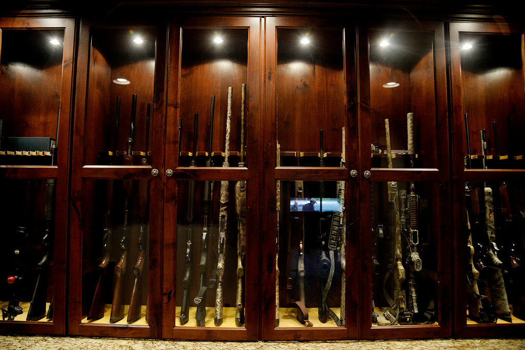 . KERSEY, CO - AUGUST 14: Todd Helton\'s gun collection inside his barn. Former Colorado Rockies first baseman Todd Helton was photographed at his ranch on Thursday, August 14, 2014. (Photo by AAron Ontiveroz/The Denver Post)