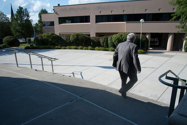 08/30/19 Wesley Bunnell | StaffrrA visitor to court walks down the front steps to the New Britain Superior Court on Friday August 30, 2019.