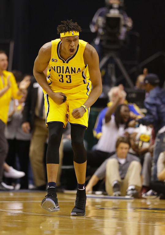 . Indiana Pacers\' Myles Turner reacts during the first half in Game 3 of a first-round NBA basketball playoff series against the Cleveland Cavaliers, Thursday, April 20, 2017, in Indianapolis. (AP Photo/Michael Conroy)