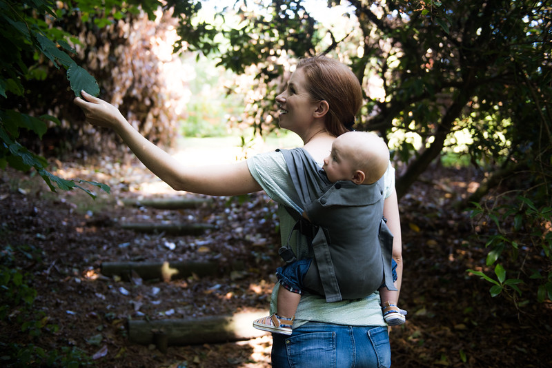 Izmi_Baby_Carrier_Mid_Grey_Lifestyle_Back_Carry_Mum_Walking_In_Woods_Looking_Left.jpg