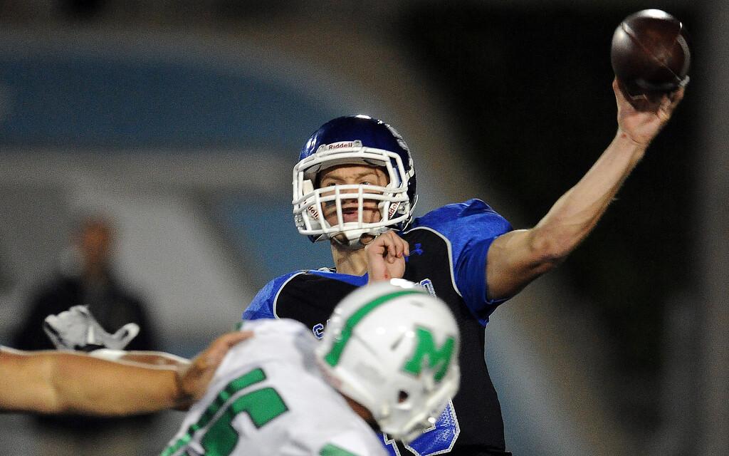 . San Marino quarterback Andrew Ferraco pass against Monrovia in the first half of a prep football game at Monrovia High School in Monrovia, Calif., on Friday, Nov. 8, 2013.    (Keith Birmingham Pasadena Star-News)