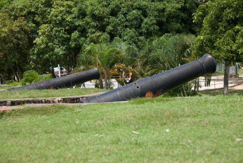 Two cannons spotted at Fort Cornwallis Wall - George Town, Penang, Malaysia