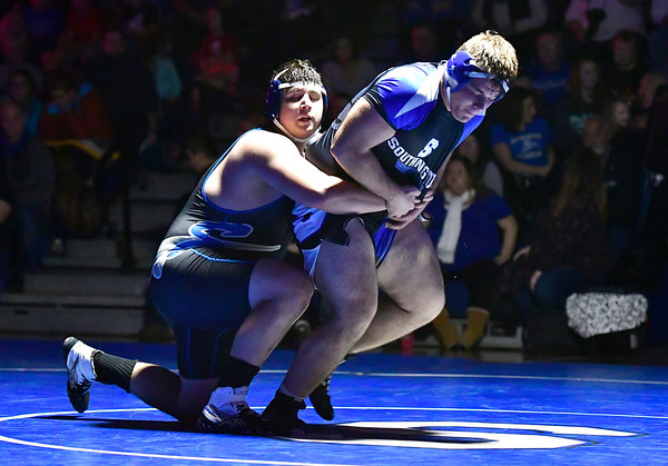 12/12/2018 Mike Orazzi | Staff Bristol Eastern's Nick St. Peter and Southington's Sam McCarthy in the 285 match at Southington High School Wednesday night.