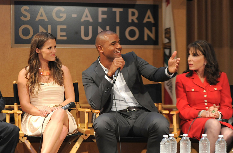 ". Actors Melissa Claire Egan, Redaric Williams and Kate Linder participate in the 40 years of ""The Young and The Restless\"" celebration and panel discussion presented by SAG-AFTRA at SAG-AFTRA on June 4, 2013 in Los Angeles, California.  (Photo by Angela Weiss/Getty Images)"