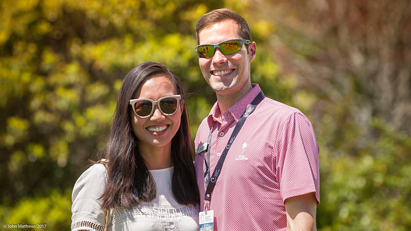 Josh Bannister and his fiancee Nica on the 3rd day of competition  in the Asia-Pacific Amateur Championship tournament 2017 held at Royal Wellington Golf Club, in Heretaunga, Upper Hutt, New Zealand from 26 - 29 October 2017. Copyright John Mathews 2017.   www.megasportmedia.co.nz