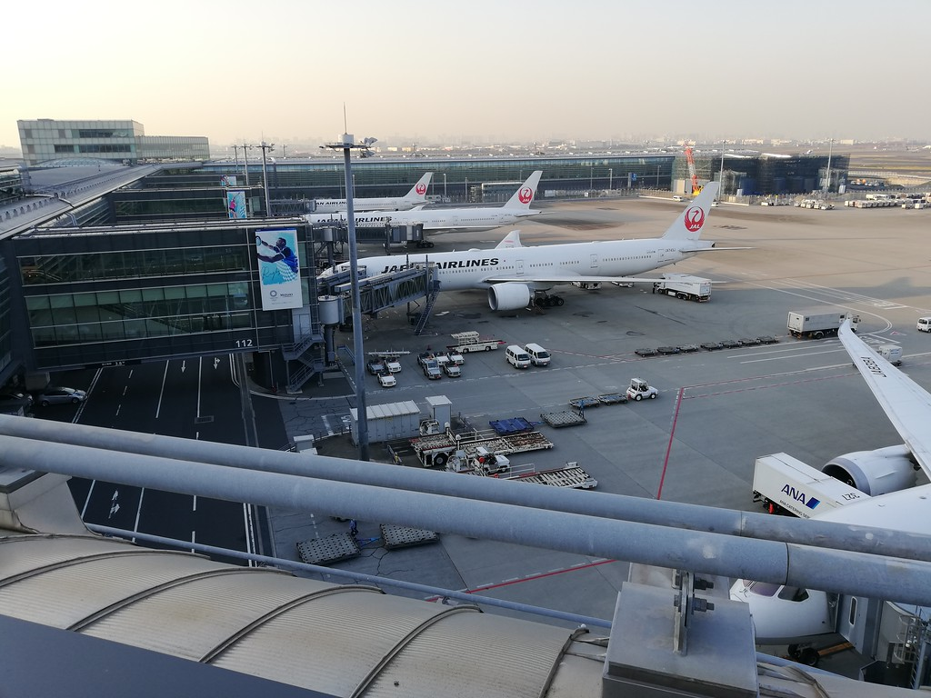 JAL planes on the tarmac at Haneda