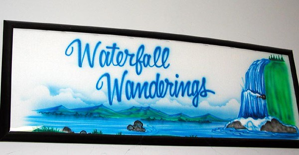 Waterfall Wanderings airbrush on my wall.