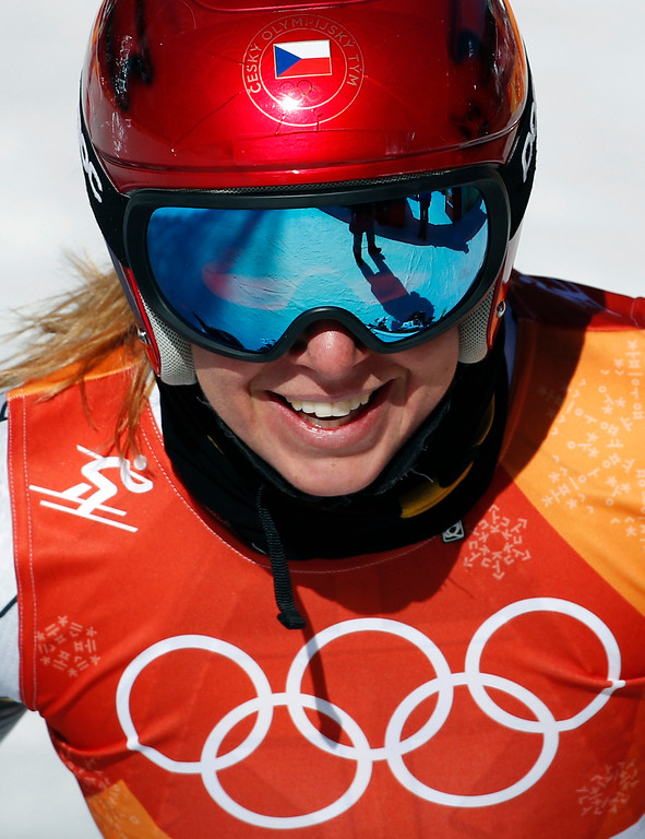 . Czech Republic\'s Ester Ledecka smiles after competing in the women\'s super-G at the 2018 Winter Olympics in Jeongseon, South Korea, Saturday, Feb. 17, 2018. (AP Photo/Christophe Ena)