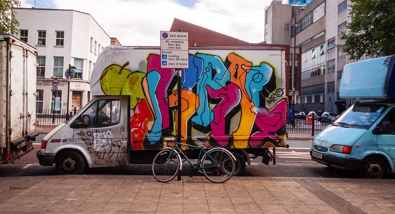 Graffiti van at Whitechapel Market