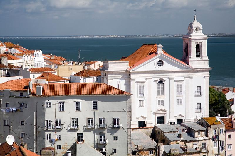 Santo Estevao church from Santa Luzia viewpoint, Lisbon.