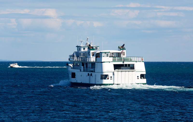 The Beaver Island Ferry passes by.