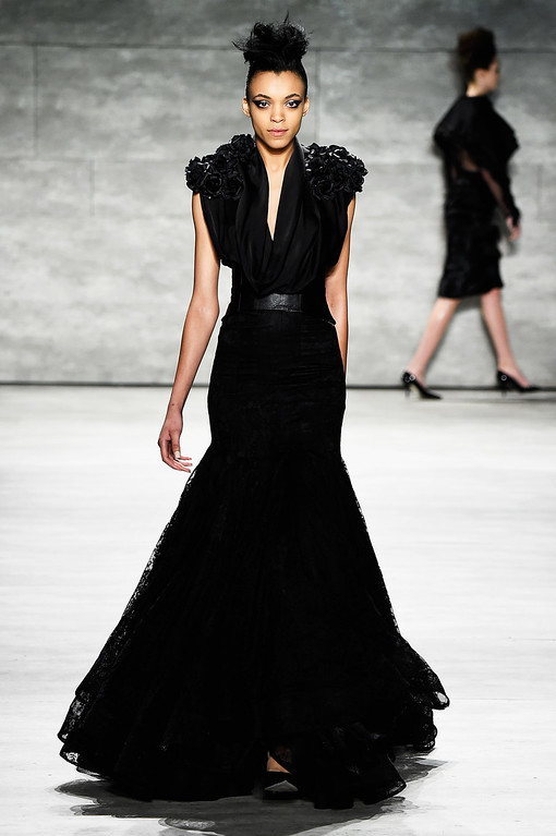. NEW YORK, NY - FEBRUARY 15:  A model walks the runway at the David Tlale fashion show during Mercedes-Benz Fashion Week Fall 2015 at The Pavilion at Lincoln Center on February 15, 2015 in New York City.  (Photo by Frazer Harrison/Getty Images for Mercedes-Benz Fashion Week)
