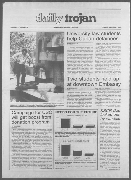 Daily Trojan, Vol. 106, No. 16, February 02, 1988