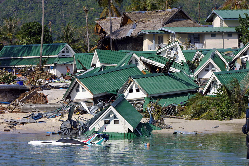 . Dozens of gift shops which once stand by the beach next to the ferry jetty destroyed by the tidal waves on the Phi Phi island in southern Thailand holiday resort 27 December 2004. An earthquake measuring 9.0 on the Richter scale struck off the coast of Sumatra, Indonesia, 26 December, and ensuing tsunami and aftershocks have claimed 17,200 lives in the south and southeast regions of Asia.    ROSLAN RAHMAN/AFP/Getty Images