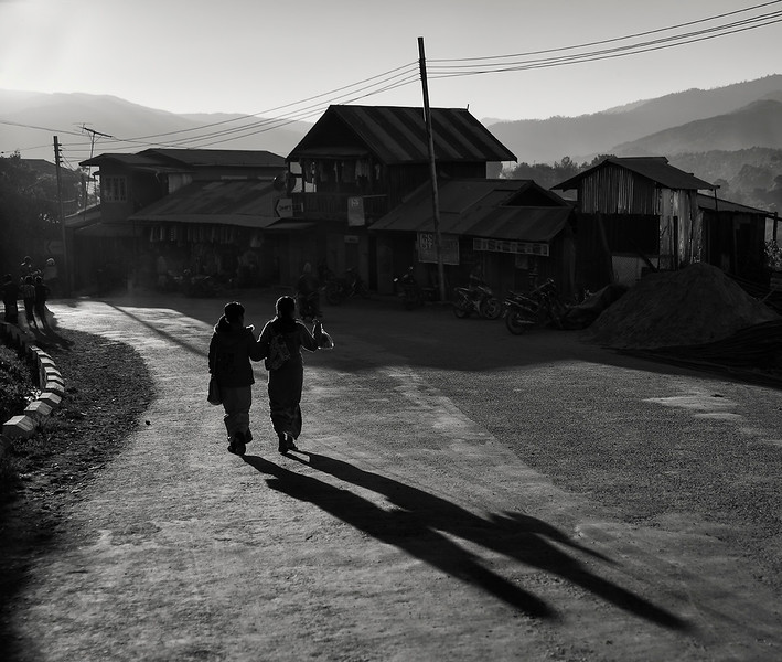 Street scene in the town of Mindat at sunset.  Chin State, Myanmar, 2017