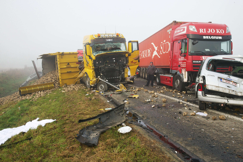 . Vehicles wreckages are pictured on the  A19 highway near Zonnebeke-Beselare after a multiple collision accident caused by dense fog on December 3, 2013. AFP PHOTO / BELGA / KURT DESPLENTER/AFP/Getty Images