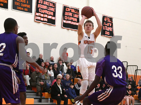 1/10/2018 Mike Orazzi | Staff Terryville High School's Zach Rinkavage (15) during Wednesday night's boys basketball game with Achievement First At Terryville High School.