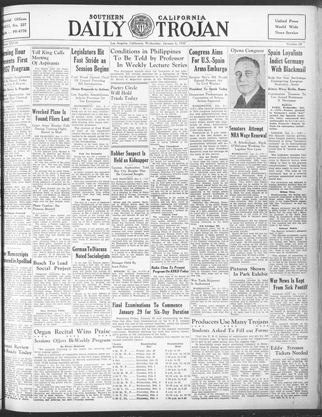 Daily Trojan, Vol. 28, No. 60, January 06, 1937