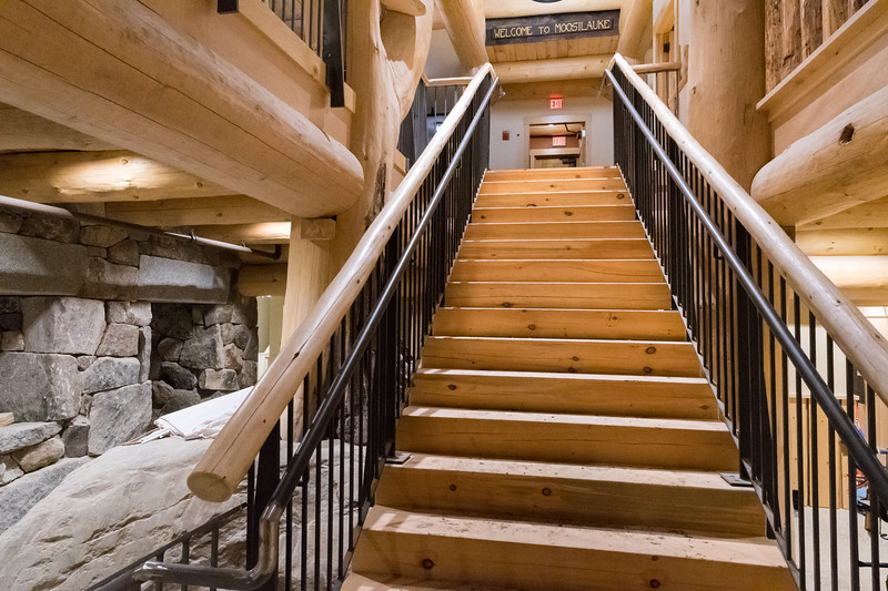 Staircase from the basement to main floor of the new Ravine Lodge. Photo by David Kotz '86.