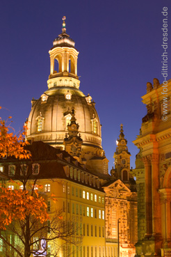 """The majestic cupola of the Frauenkirche stands over the roofs of Dresden again, as if it has never been destroyed during the bombardment of 1945. Photo Sylvio Dittrich.  <i>(Attention: this picture is not made by us and is not included in any feature price arrangement by us. This photo can be obtained in high resolution <a href=""""http://www.foto-dittrich-dresden.de""""><font color=""""#608bc1"""">at our collegue Sylvio Dittrich</font></a>).</i>"""