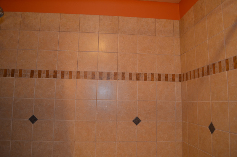 Custom tile tub surround in master bath.
