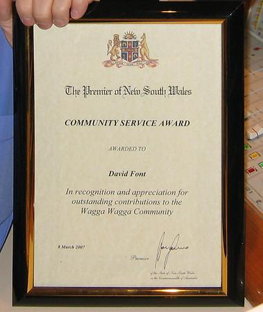 11/3/07 David Font receives NSW Premier's Award