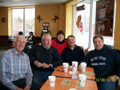Bob Gilman. Jerry, Lorraine, Lee Fortier, Connie Dubuque @ Dunkin Donuts.JPG