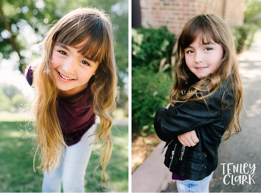 Downtown Pleasanton, CA kids model headshots for JE Model by Tenley Clark Photography. Layla leather jacket.