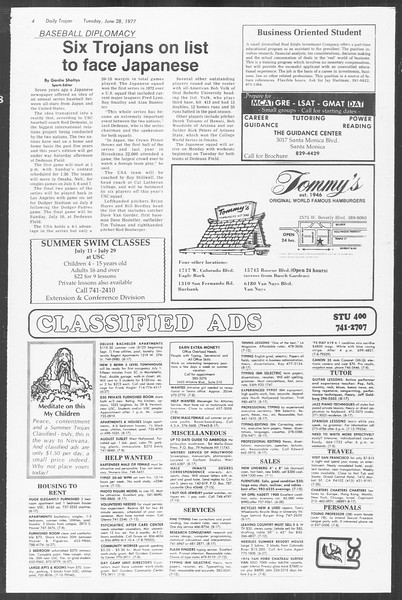 Summer Trojan, Vol. 72, No. 2, June 28, 1977