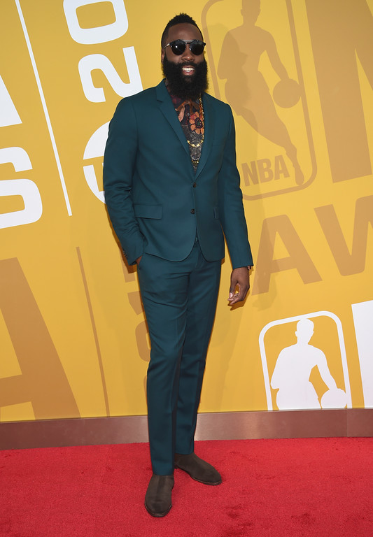 . NBA player James Harden, of the Houston Rockets, arrives at the NBA Awards at Basketball City at Pier 36 on Monday, June 26, 2017, in New York. (Photo by Evan Agostini/Invision/AP)
