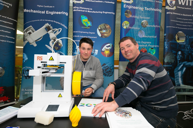 Pictured at the CAO Information Evening at WIT Main Campus are Conor Croke, Mullinahone, Co. Tipperary with Paul Allen, WIT Course Leader Mechanical Engineering. Picture: Patrick Browne  The event gave school leavers, parents, mature students a chance to learn more about areas of study they're interested in and learn about student life at WIT. The evening featured: lecturers were available to talk about specific course information; current students were on hand to talk about their college experiences; fees and grants and student supports information; chance to take a tour of the campus and facilities; book on-campus accommodation.   Elaine Larkin, PR Executive, WIT 051-845577