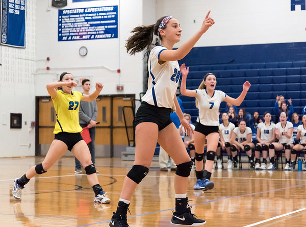 10/30/18 Wesley Bunnell | Staff Southington girls volleyball was defeated 15-10 in the 5th set by Farmington in a 2nd round CCC Tournament game on Tuesday night at Southington High School. Mackenzie Coppola (26) and teammates react to a point.