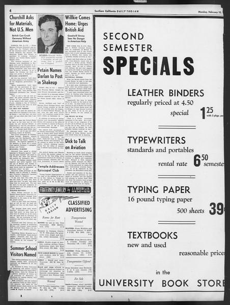 Daily Trojan, Vol. 32, No. 77, February 10, 1941