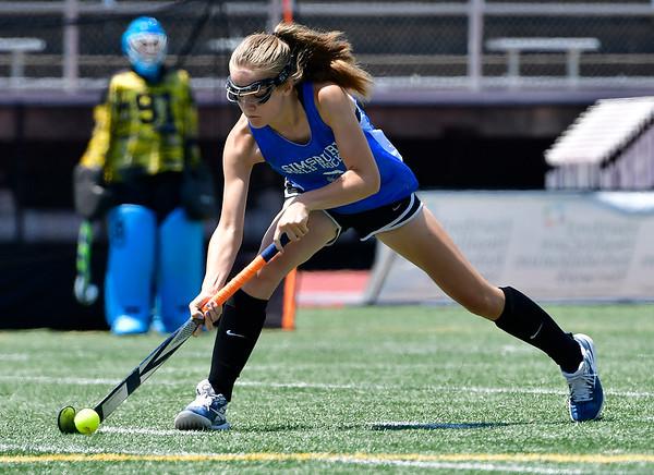 7/19/2019 Mike Orazzi | Staff Simsbury U15 Field Hockey's Katherine Caldwell (6) during the Nutmeg Games at Veterans Stadium in New Britain on Friday.