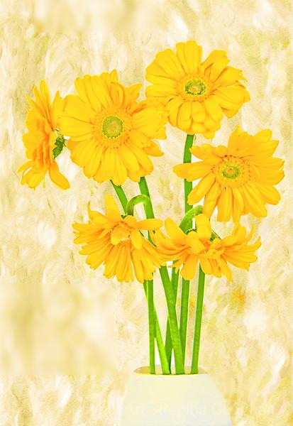 Yelllow Gerbera Bouquet Art
