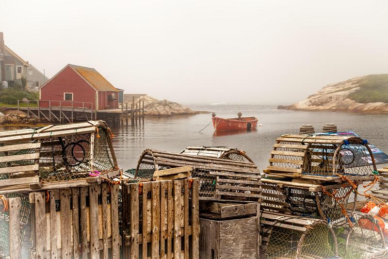 Fog rolling in at Peggy's Cove in Nova Scotia, Canada